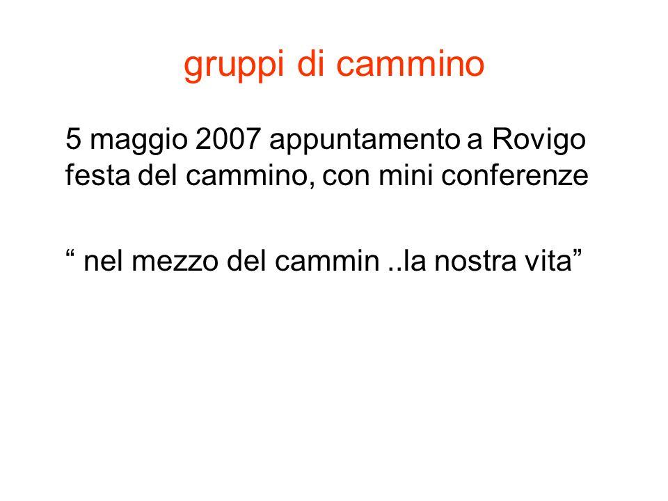 gruppi di cammino 5 maggio 2007 appuntamento a Rovigo festa del cammino, con mini conferenze nel mezzo del cammin..la nostra vita