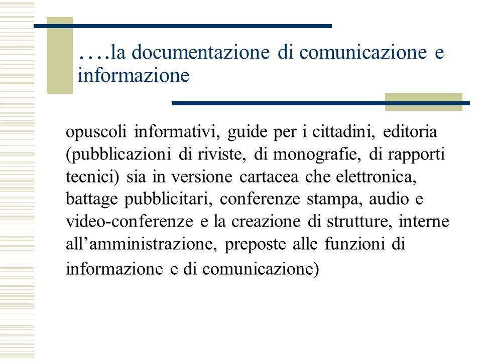 …. la documentazione di comunicazione e informazione opuscoli informativi, guide per i cittadini, editoria (pubblicazioni di riviste, di monografie, d