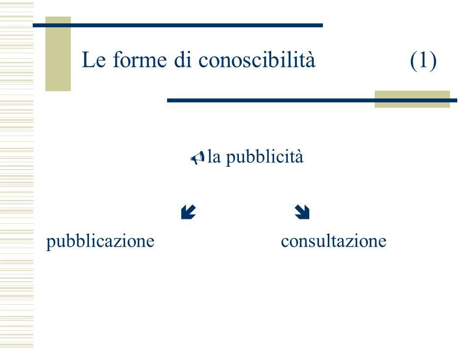 Le forme di conoscibilità(1) la pubblicità pubblicazioneconsultazione