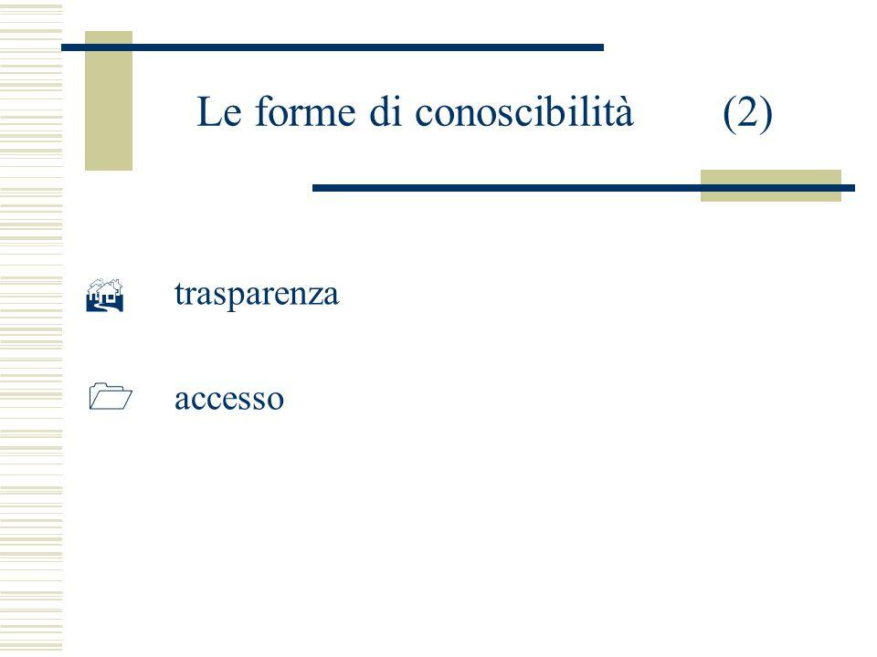 Le forme di conoscibilità (2) trasparenza accesso