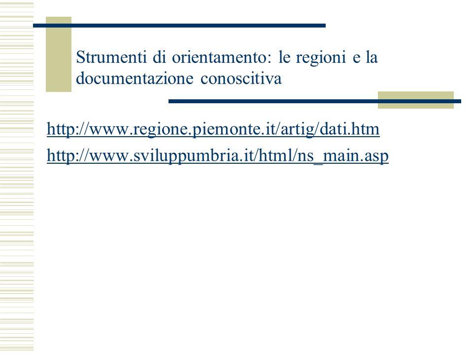 Strumenti di orientamento: le regioni e la documentazione conoscitiva http://www.regione.piemonte.it/artig/dati.htm http://www.sviluppumbria.it/html/n