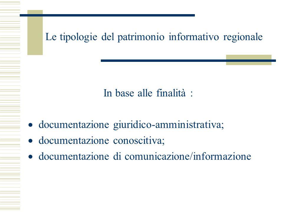 Le tipologie del patrimonio informativo regionale In base alle finalità : documentazione giuridico-amministrativa; documentazione conoscitiva; documen