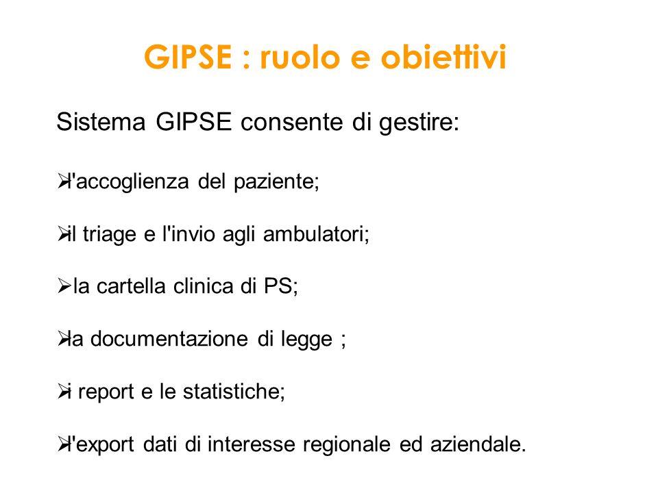 GIPSE : ruolo e obiettivi Sistema GIPSE consente di gestire: l'accoglienza del paziente; il triage e l'invio agli ambulatori; la cartella clinica di P