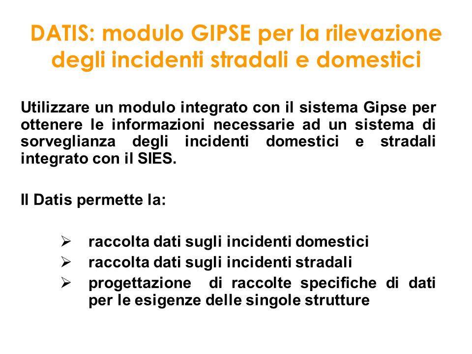 DATIS: modulo GIPSE per la rilevazione degli incidenti stradali e domestici Utilizzare un modulo integrato con il sistema Gipse per ottenere le inform