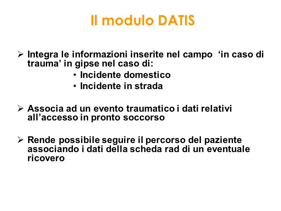 Integra le informazioni inserite nel campo in caso di trauma in gipse nel caso di: Incidente domestico Incidente in strada Associa ad un evento trauma