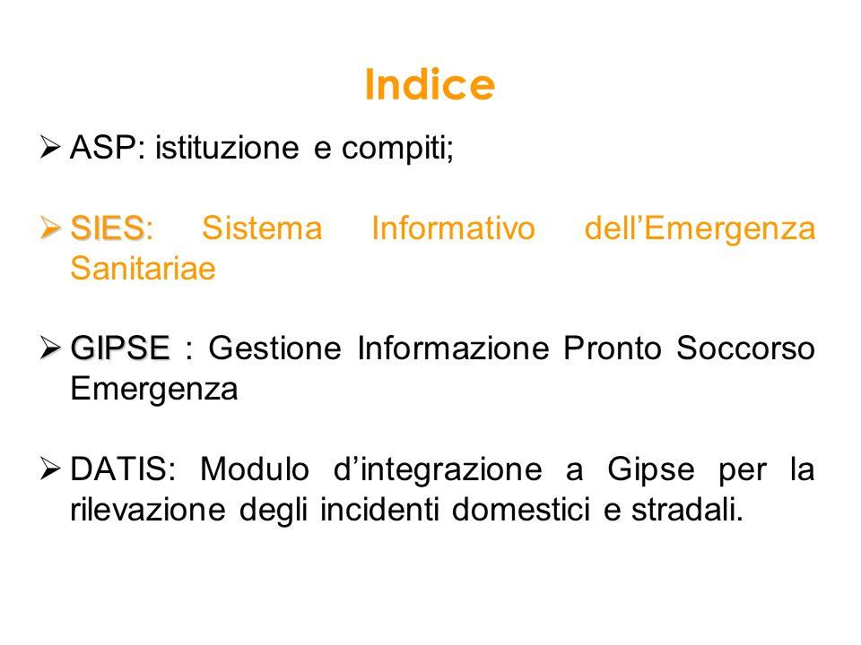 Indice ASP: istituzione e compiti; SIES SIES: Sistema Informativo dellEmergenza Sanitariae obiettivi; GIPSE GIPSE : Gestione Informazione Pronto Socco