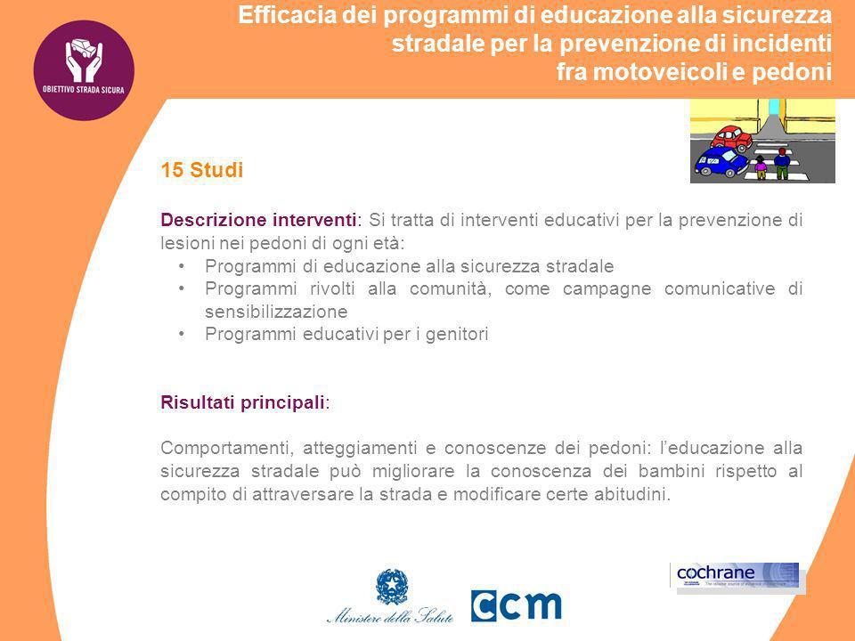 15 Studi Descrizione interventi: Si tratta di interventi educativi per la prevenzione di lesioni nei pedoni di ogni età: Programmi di educazione alla