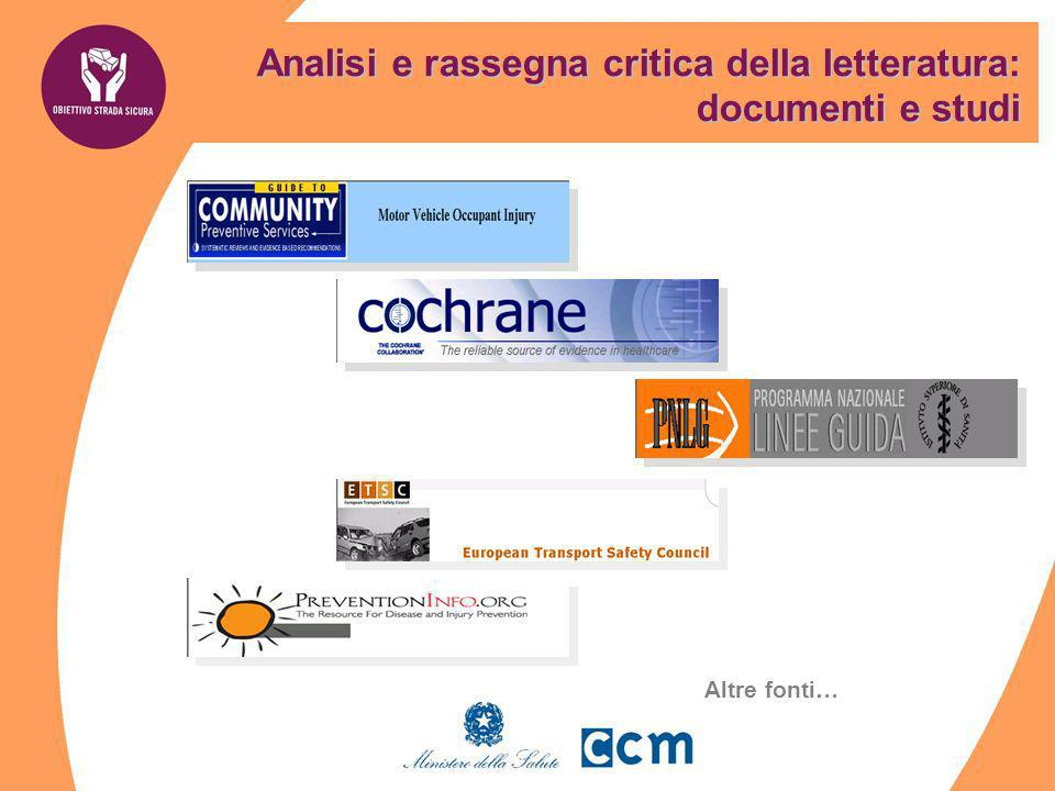 Analisi e rassegna critica della letteratura: documenti e studi Altre fonti…
