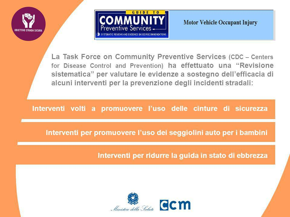 La Task Force on Community Preventive Services (CDC – Centers for Disease Control and Prevention) ha effettuato una Revisione sistematica per valutare