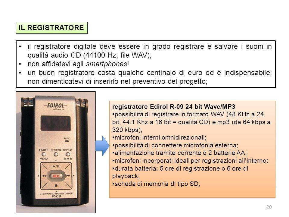 20 IL REGISTRATORE il registratore digitale deve essere in grado registrare e salvare i suoni in qualità audio CD (44100 Hz, file WAV); non affidatevi