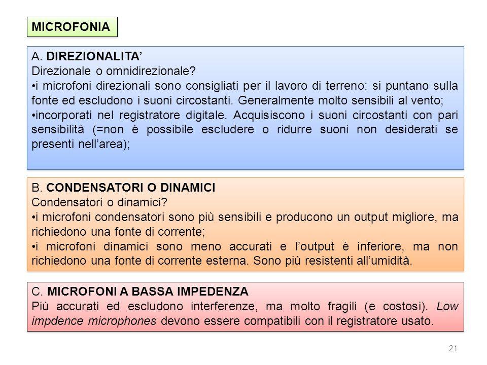 21 MICROFONIA A. DIREZIONALITA Direzionale o omnidirezionale? i microfoni direzionali sono consigliati per il lavoro di terreno: si puntano sulla font