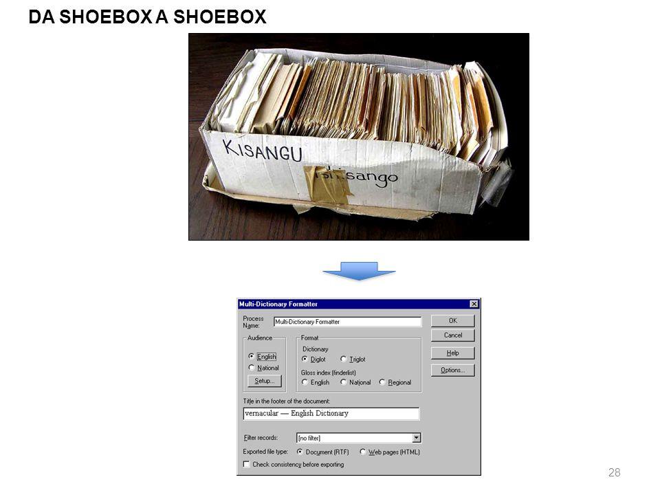 29 COSTRUIRE UN DATABASE: LINGUISTS SHOEBOX / TOOLBOX Linguists Shoebox è un sofware sviluppato dalla SIL per raccogliere e analizzare materiale di natura linguistica e antropologica.