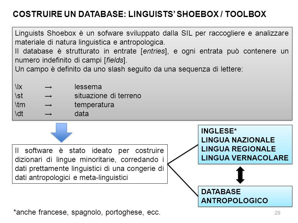 29 COSTRUIRE UN DATABASE: LINGUISTS SHOEBOX / TOOLBOX Linguists Shoebox è un sofware sviluppato dalla SIL per raccogliere e analizzare materiale di na