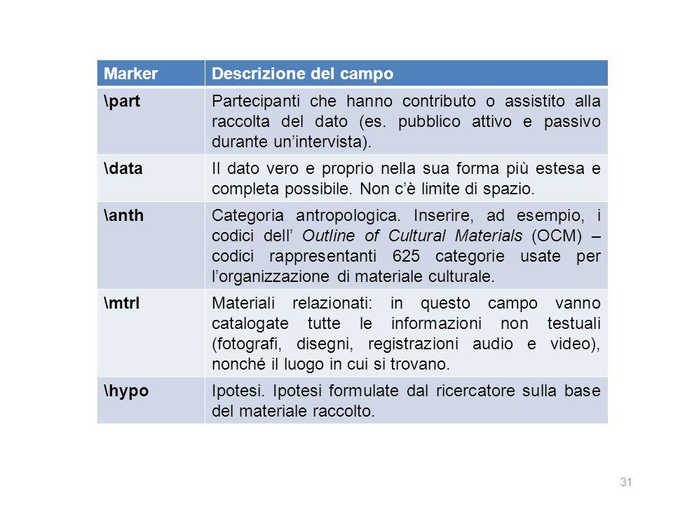 31 MarkerDescrizione del campo \partPartecipanti che hanno contributo o assistito alla raccolta del dato (es. pubblico attivo e passivo durante uninte
