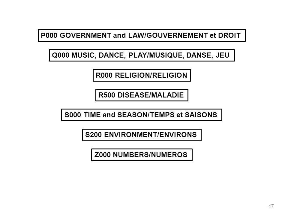 47 P000 GOVERNMENT and LAW/GOUVERNEMENT et DROIT Q000 MUSIC, DANCE, PLAY/MUSIQUE, DANSE, JEU R000 RELIGION/RELIGION R500 DISEASE/MALADIE S000 TIME and