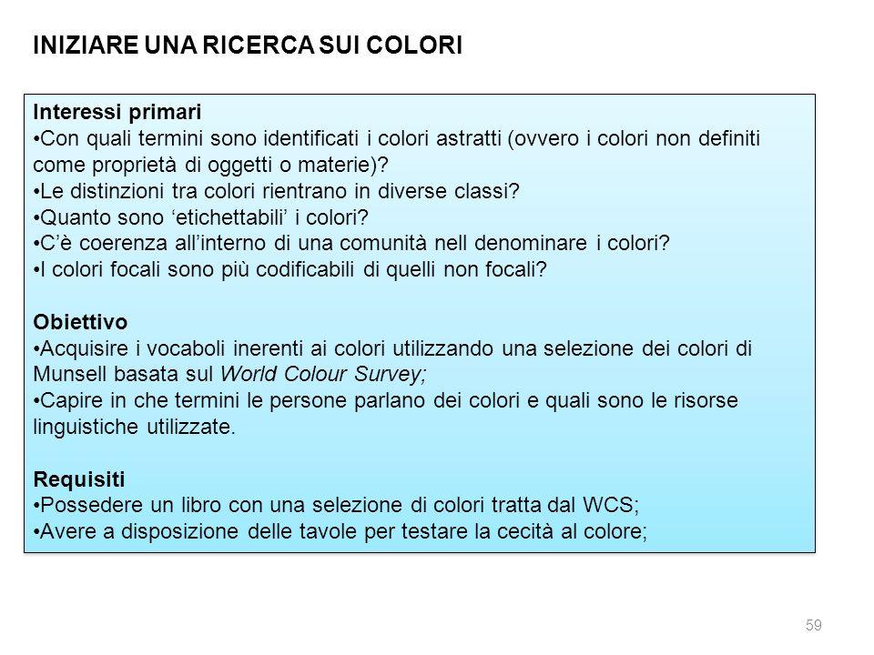 59 INIZIARE UNA RICERCA SUI COLORI Interessi primari Con quali termini sono identificati i colori astratti (ovvero i colori non definiti come propriet