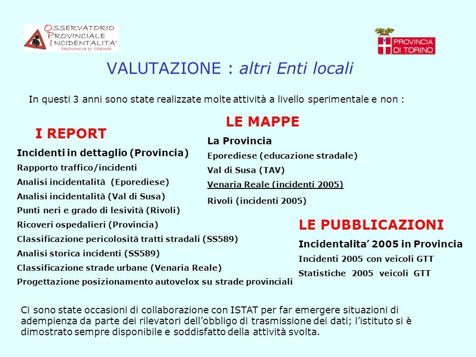 VALUTAZIONE : altri Enti locali In questi 3 anni sono state realizzate molte attività a livello sperimentale e non : I REPORT Incidenti in dettaglio (