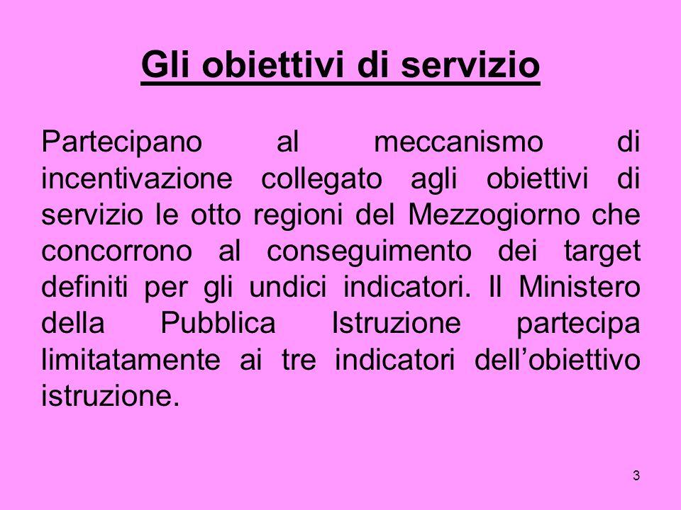 3 Gli obiettivi di servizio Partecipano al meccanismo di incentivazione collegato agli obiettivi di servizio le otto regioni del Mezzogiorno che concorrono al conseguimento dei target definiti per gli undici indicatori.