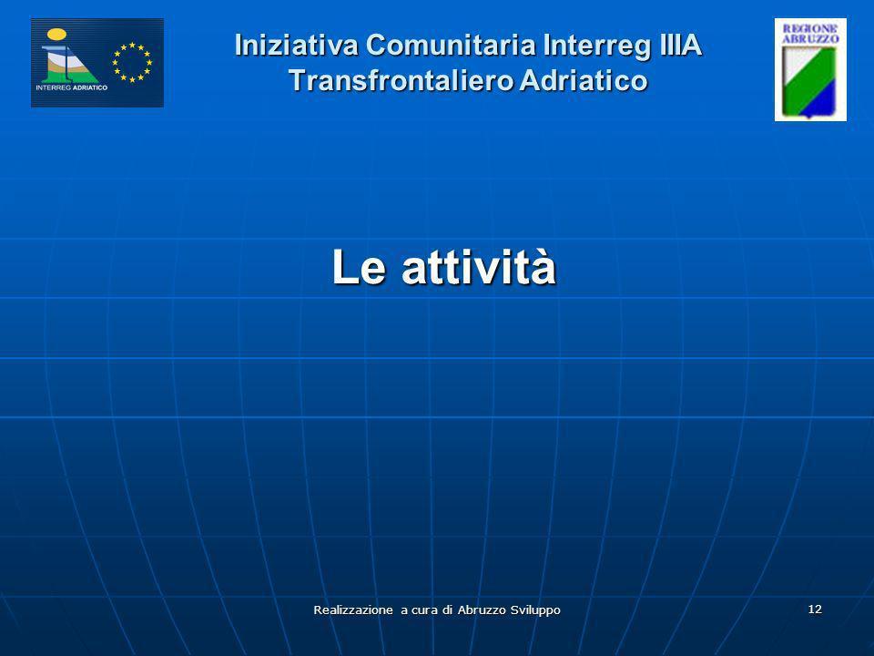 Realizzazione a cura di Abruzzo Sviluppo 12 Iniziativa Comunitaria Interreg IIIA Transfrontaliero Adriatico Le attività