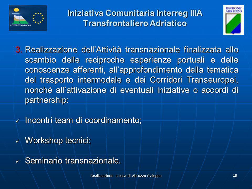 Realizzazione a cura di Abruzzo Sviluppo 15 Iniziativa Comunitaria Interreg IIIA Transfrontaliero Adriatico 3.Realizzazione dellAttività transnazionale finalizzata allo scambio delle reciproche esperienze portuali e delle conoscenze afferenti, allapprofondimento della tematica del trasporto intermodale e dei Corridori Transeuropei, nonché allattivazione di eventuali iniziative o accordi di partnership: Incontri team di coordinamento; Incontri team di coordinamento; Workshop tecnici; Workshop tecnici; Seminario transnazionale.
