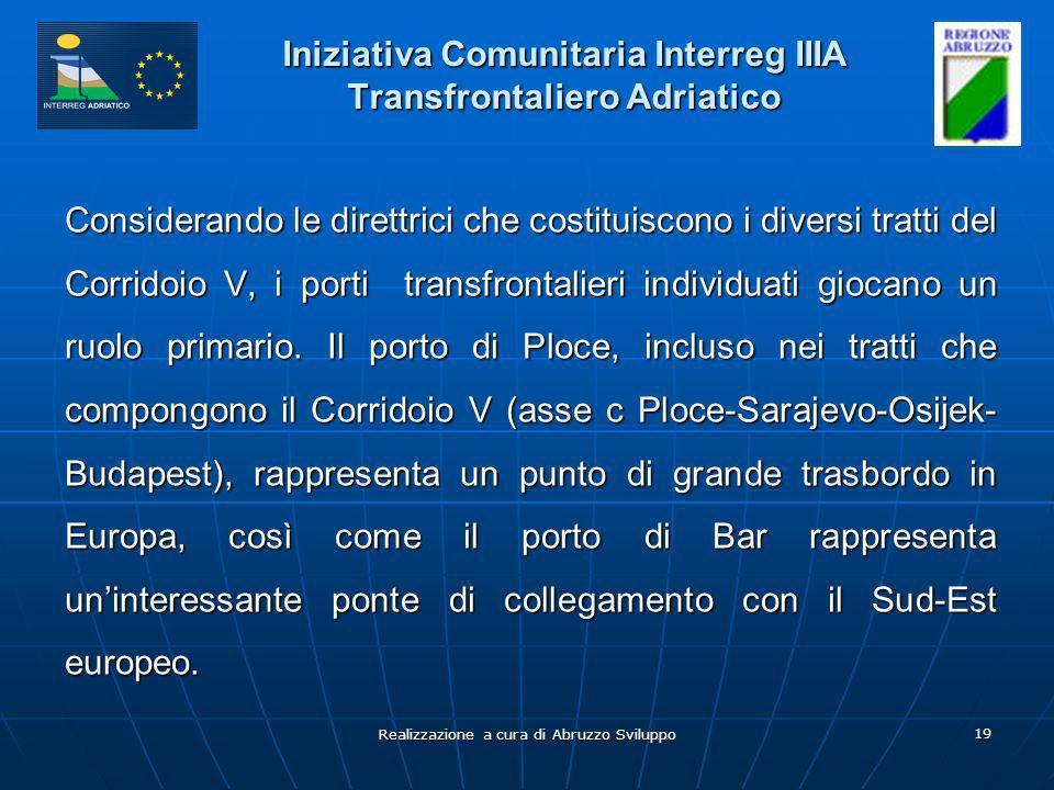 Realizzazione a cura di Abruzzo Sviluppo 19 Iniziativa Comunitaria Interreg IIIA Transfrontaliero Adriatico Considerando le direttrici che costituisco