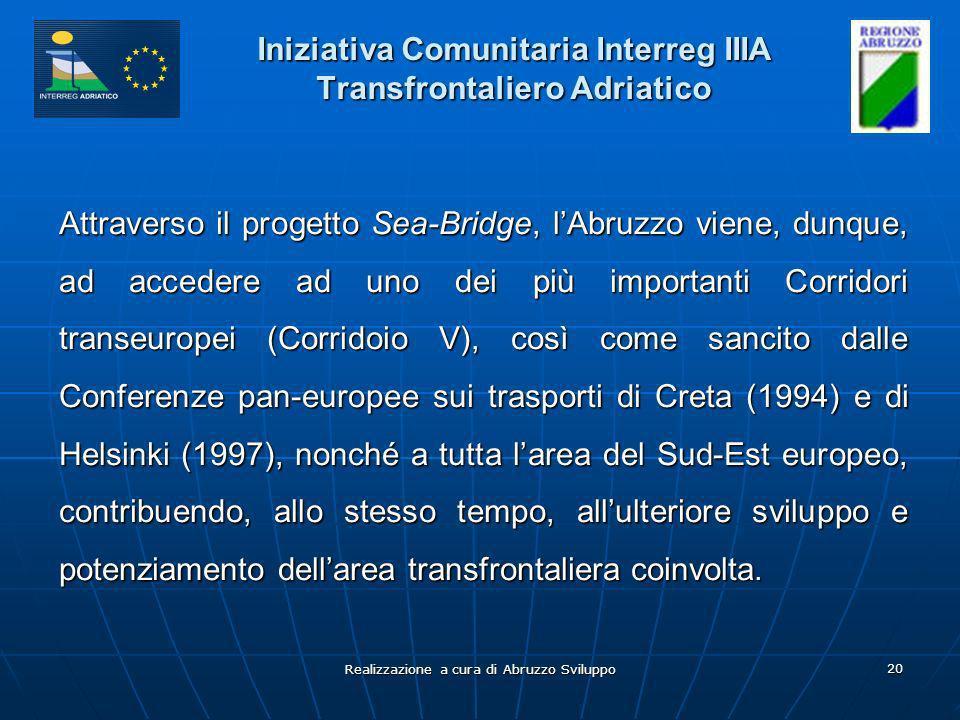 Realizzazione a cura di Abruzzo Sviluppo 20 Iniziativa Comunitaria Interreg IIIA Transfrontaliero Adriatico Attraverso il progetto Sea-Bridge, lAbruzzo viene, dunque, ad accedere ad uno dei più importanti Corridori transeuropei (Corridoio V), così come sancito dalle Conferenze pan-europee sui trasporti di Creta (1994) e di Helsinki (1997), nonché a tutta larea del Sud-Est europeo, contribuendo, allo stesso tempo, allulteriore sviluppo e potenziamento dellarea transfrontaliera coinvolta.