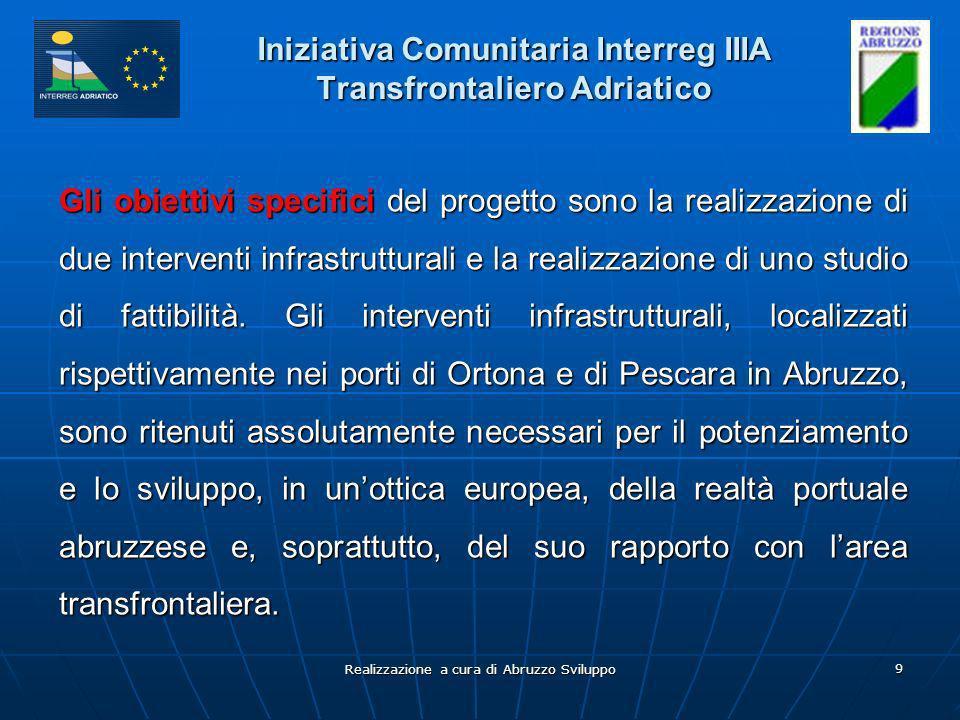 Realizzazione a cura di Abruzzo Sviluppo 9 Iniziativa Comunitaria Interreg IIIA Transfrontaliero Adriatico Gli obiettivi specifici del progetto sono l