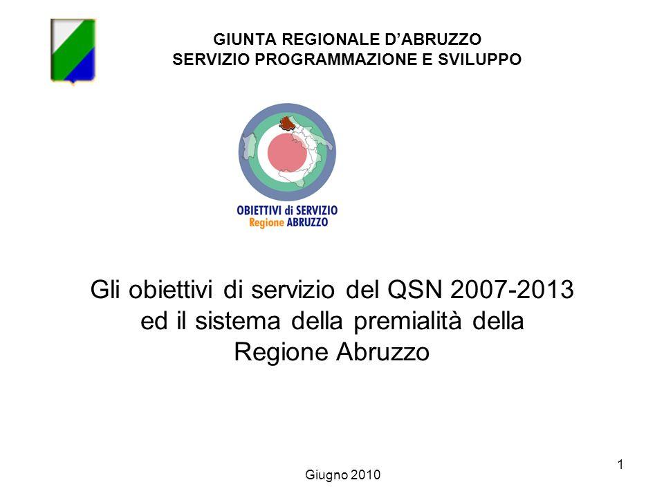 1 GIUNTA REGIONALE DABRUZZO SERVIZIO PROGRAMMAZIONE E SVILUPPO Gli obiettivi di servizio del QSN 2007-2013 ed il sistema della premialità della Regione Abruzzo Giugno 2010