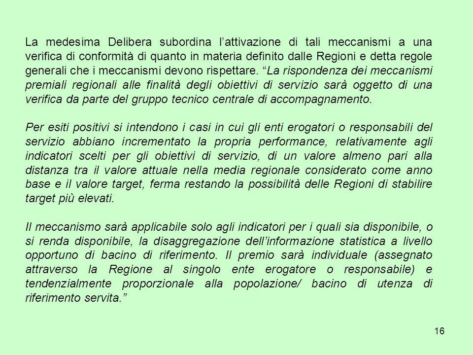 16 La medesima Delibera subordina lattivazione di tali meccanismi a una verifica di conformità di quanto in materia definito dalle Regioni e detta regole generali che i meccanismi devono rispettare.