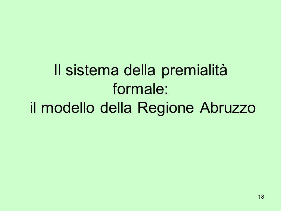 18 Il sistema della premialità formale: il modello della Regione Abruzzo