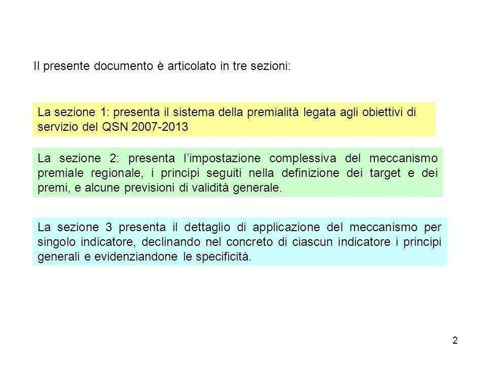 2 Il presente documento è articolato in tre sezioni: La sezione 1: presenta il sistema della premialità legata agli obiettivi di servizio del QSN 2007-2013 La sezione 2: presenta limpostazione complessiva del meccanismo premiale regionale, i principi seguiti nella definizione dei target e dei premi, e alcune previsioni di validità generale.