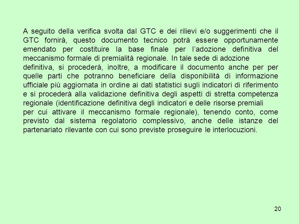 20 A seguito della verifica svolta dal GTC e dei rilievi e/o suggerimenti che il GTC fornirà, questo documento tecnico potrà essere opportunamente emendato per costituire la base finale per ladozione definitiva del meccanismo formale di premialità regionale.