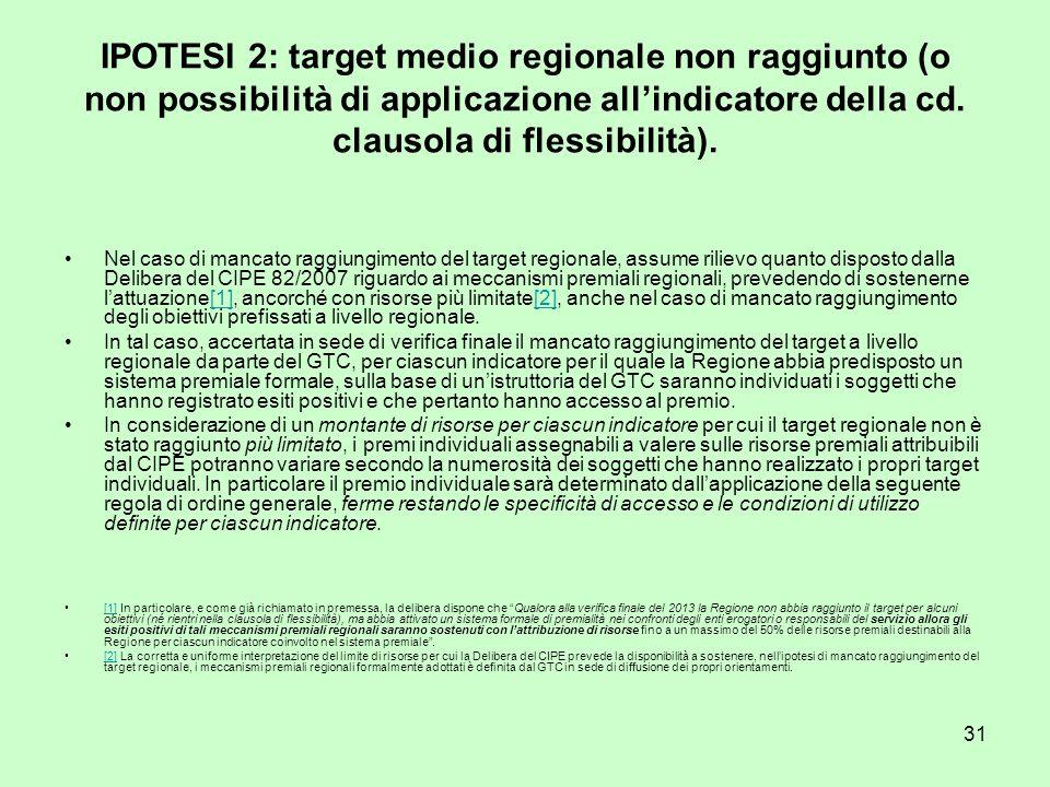 31 IPOTESI 2: target medio regionale non raggiunto (o non possibilità di applicazione allindicatore della cd.