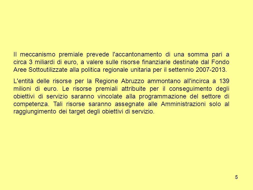 5 Il meccanismo premiale prevede l accantonamento di una somma pari a circa 3 miliardi di euro, a valere sulle risorse finanziarie destinate dal Fondo Aree Sottoutilizzate alla politica regionale unitaria per il settennio 2007-2013.
