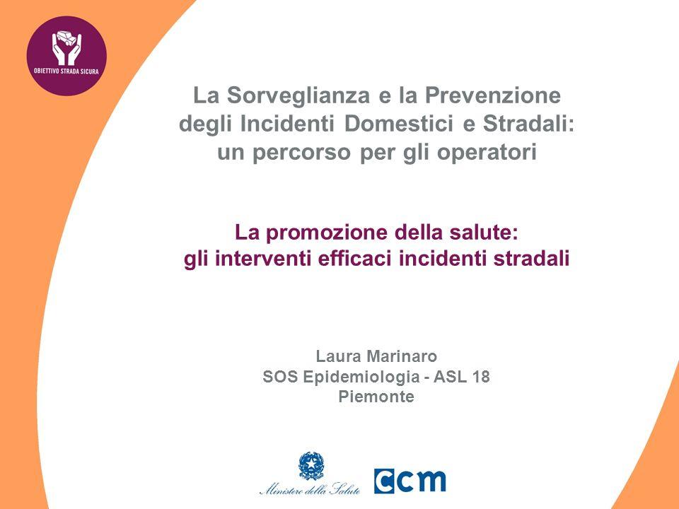 La Sorveglianza e la Prevenzione degli Incidenti Domestici e Stradali: un percorso per gli operatori La promozione della salute: gli interventi efficaci incidenti stradali Laura Marinaro SOS Epidemiologia - ASL 18 Piemonte