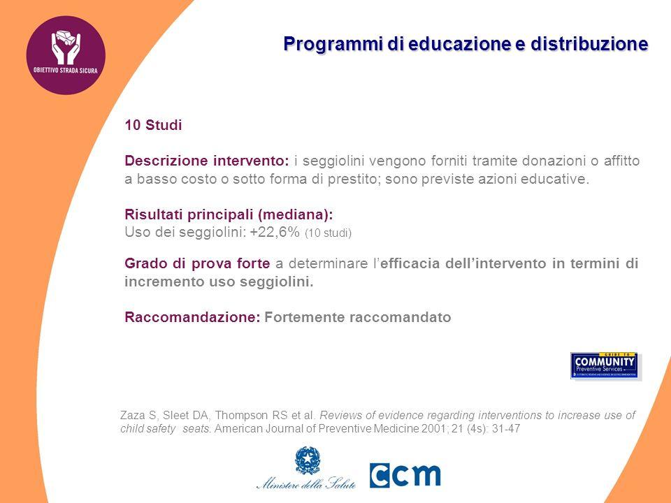 Programmi di educazione e distribuzione 10 Studi Descrizione intervento: i seggiolini vengono forniti tramite donazioni o affitto a basso costo o sotto forma di prestito; sono previste azioni educative.
