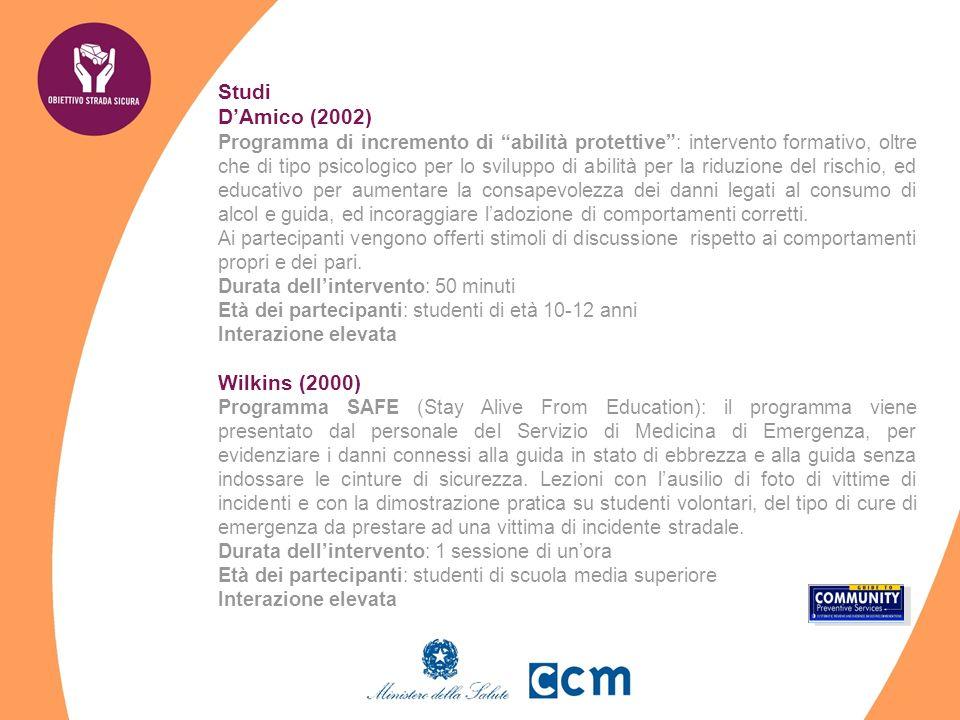 Studi DAmico (2002) Programma di incremento di abilità protettive: intervento formativo, oltre che di tipo psicologico per lo sviluppo di abilità per