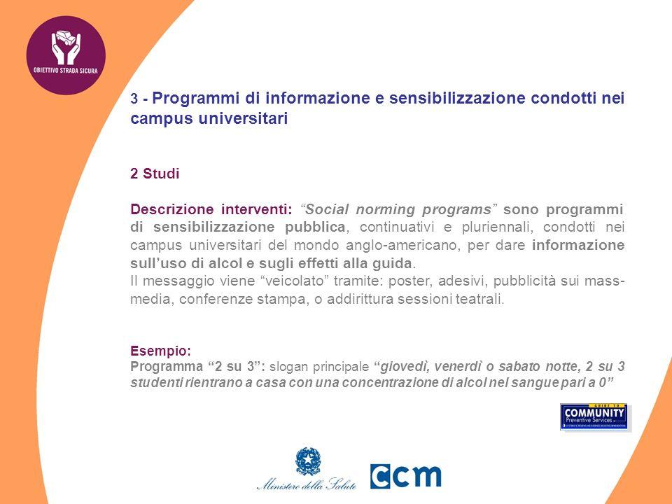 3 - Programmi di informazione e sensibilizzazione condotti nei campus universitari 2 Studi Descrizione interventi: Social norming programs sono progra