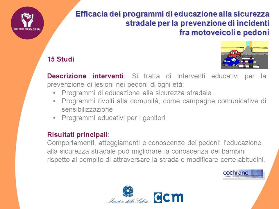 Efficacia dei programmi di educazione alla sicurezza stradale per la prevenzione di incidenti fra motoveicoli e pedoni 15 Studi Descrizione interventi