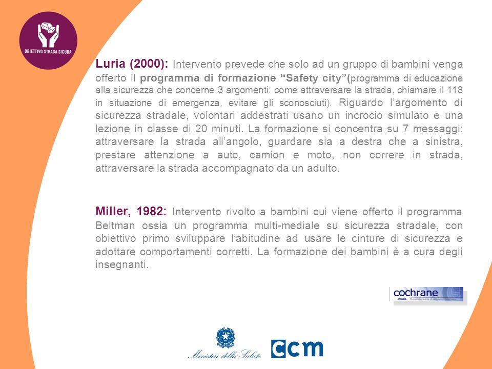 Luria (2000): Intervento prevede che solo ad un gruppo di bambini venga offerto il programma di formazione Safety city( programma di educazione alla sicurezza che concerne 3 argomenti: come attraversare la strada, chiamare il 118 in situazione di emergenza, evitare gli sconosciuti).