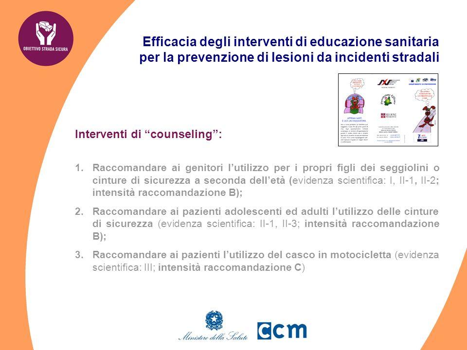 Efficacia degli interventi di educazione sanitaria per la prevenzione di lesioni da incidenti stradali Interventi di counseling: 1.Raccomandare ai gen