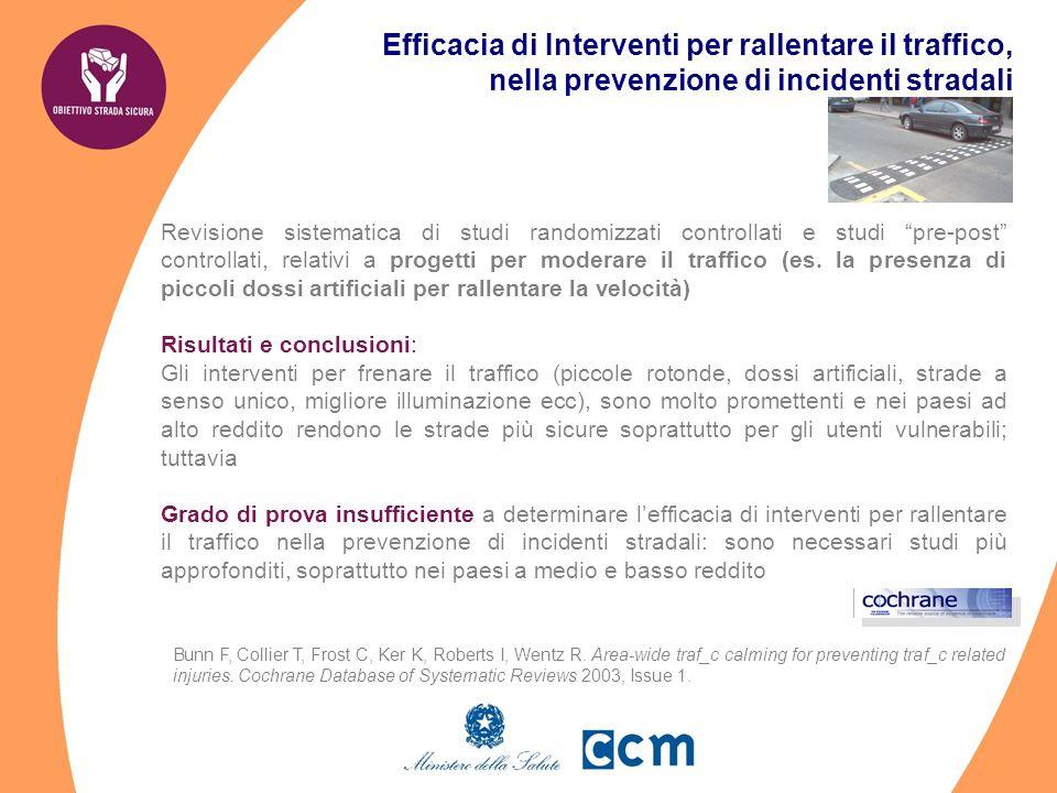 Efficacia di Interventi per rallentare il traffico, nella prevenzione di incidenti stradali Revisione sistematica di studi randomizzati controllati e