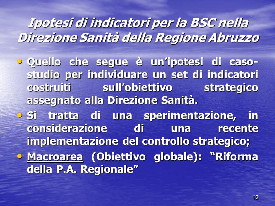 12 Ipotesi di indicatori per la BSC nella Direzione Sanità della Regione Abruzzo Quello che segue è unipotesi di caso- studio per individuare un set d