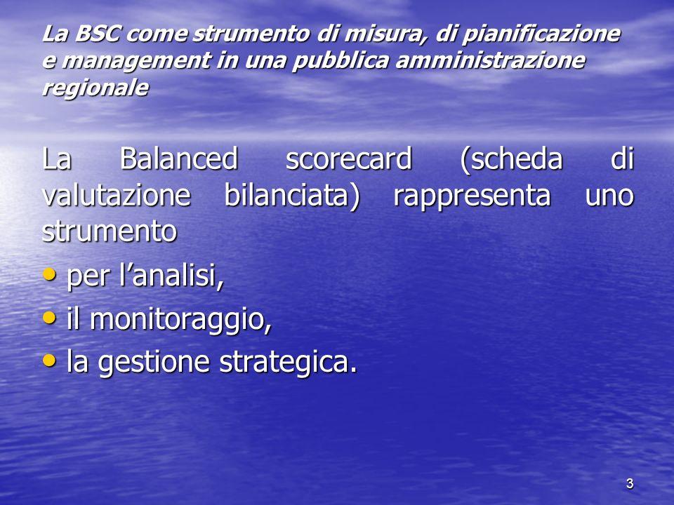 3 La BSC come strumento di misura, di pianificazione e management in una pubblica amministrazione regionale La Balanced scorecard (scheda di valutazio