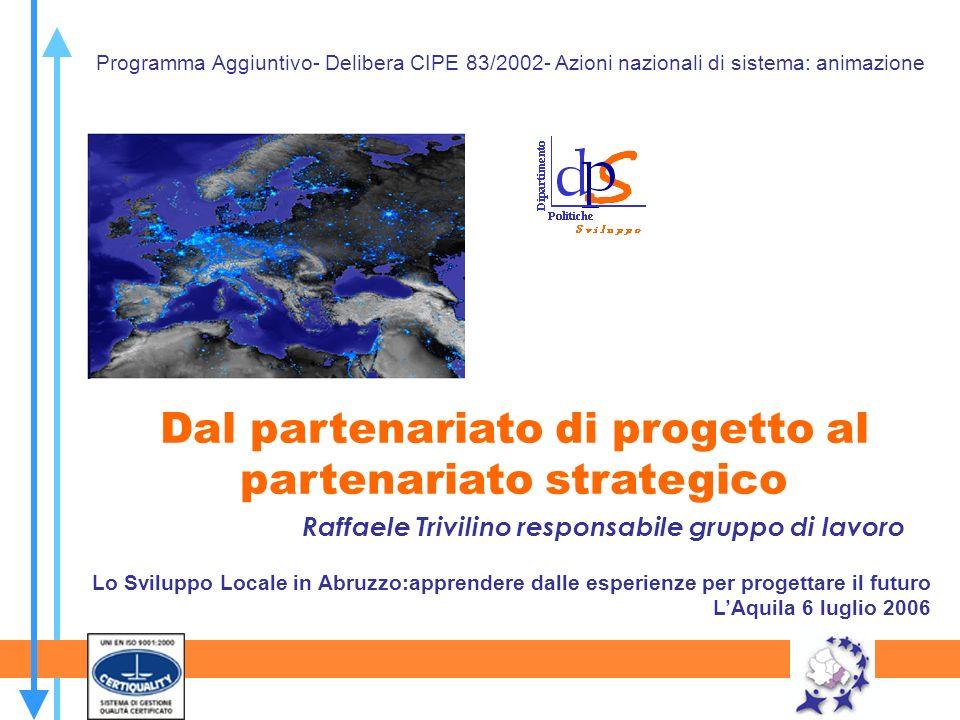 Raffaele Trivilino responsabile gruppo di lavoro Dal partenariato di progetto al partenariato strategico Programma Aggiuntivo- Delibera CIPE 83/2002-