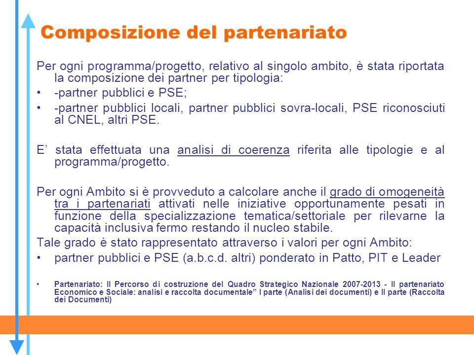 Composizione del partenariato Per ogni programma/progetto, relativo al singolo ambito, è stata riportata la composizione dei partner per tipologia: -p