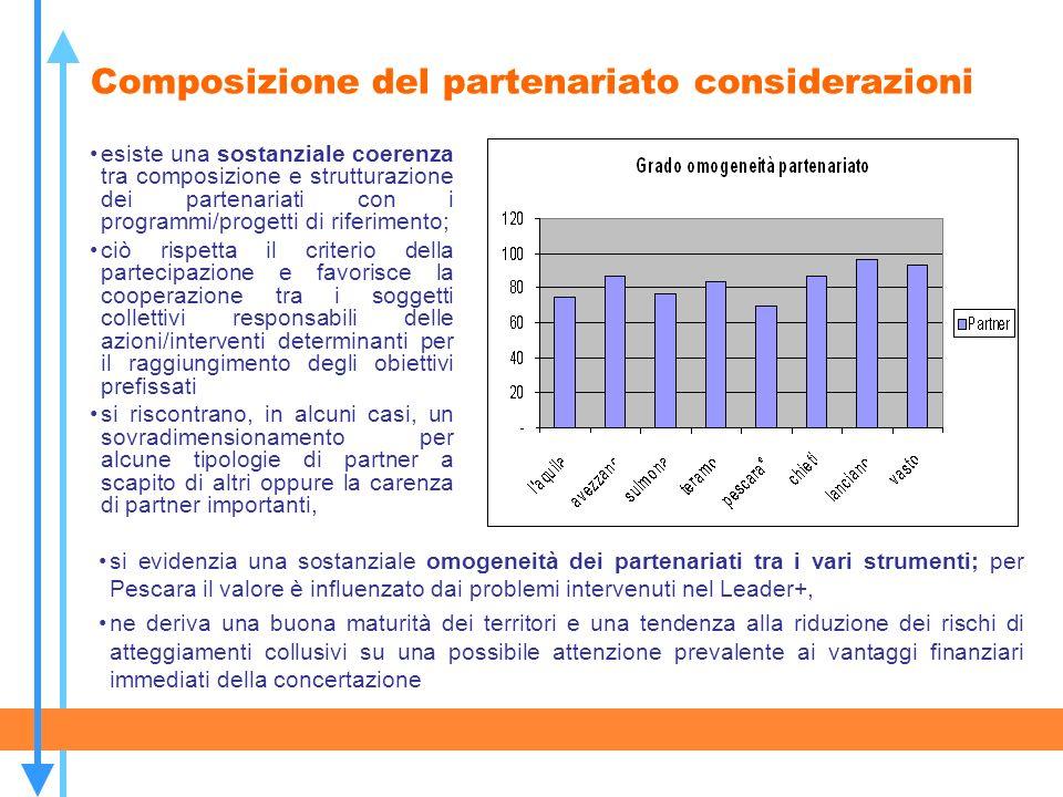 Composizione del partenariato considerazioni esiste una sostanziale coerenza tra composizione e strutturazione dei partenariati con i programmi/proget