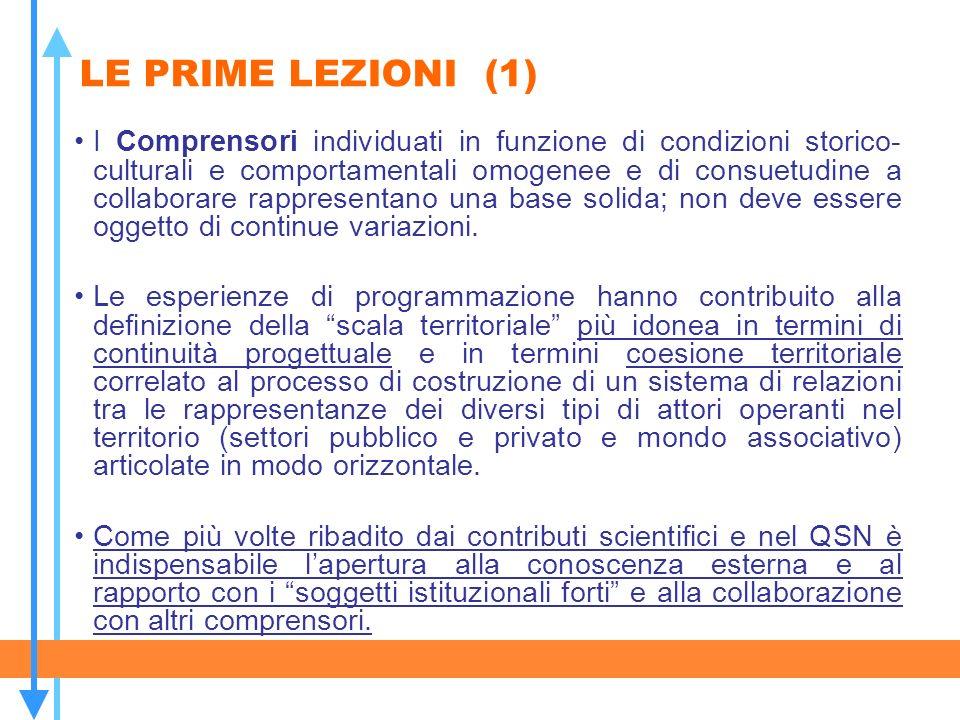 LE PRIME LEZIONI (1) I Comprensori individuati in funzione di condizioni storico- culturali e comportamentali omogenee e di consuetudine a collaborare