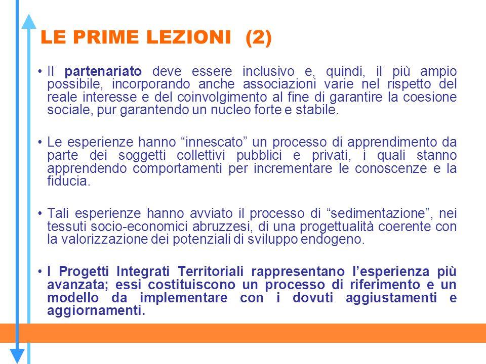LE PRIME LEZIONI (2) Il partenariato deve essere inclusivo e, quindi, il più ampio possibile, incorporando anche associazioni varie nel rispetto del r