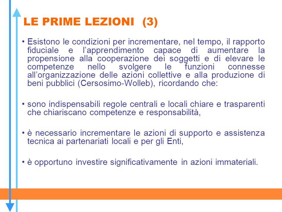 LE PRIME LEZIONI (3) Esistono le condizioni per incrementare, nel tempo, il rapporto fiduciale e lapprendimento capace di aumentare la propensione all